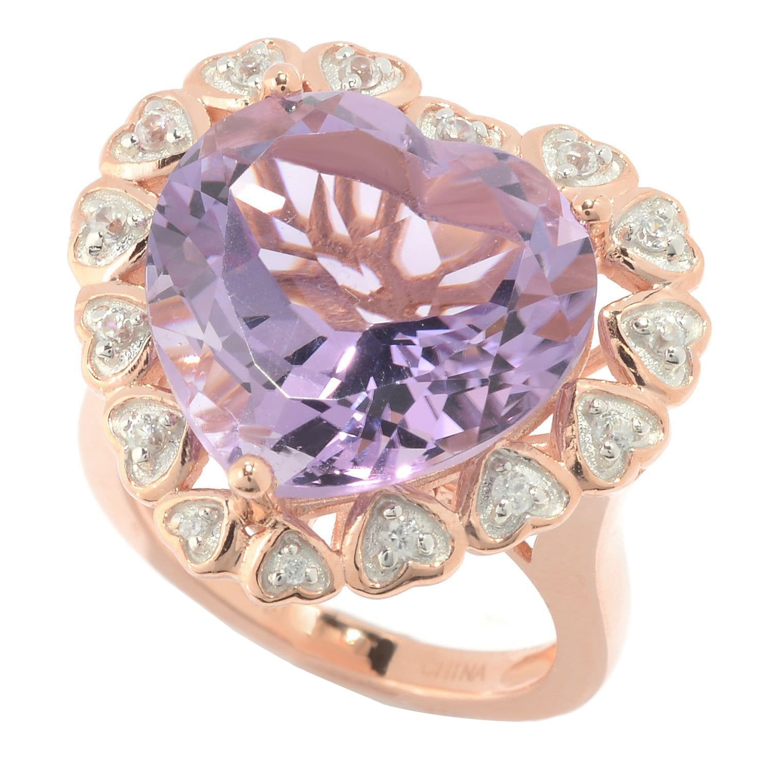 18k Rose Gold over Sterling Silver Amethyst and White Zir...