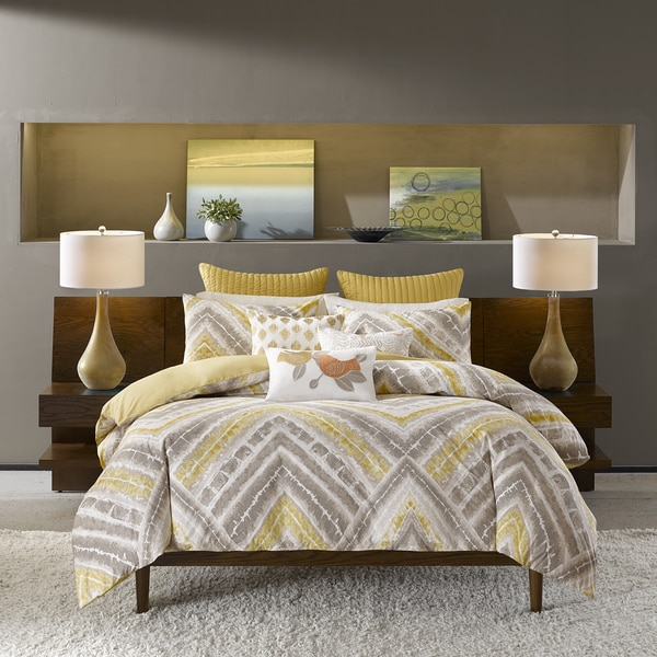 Ink Ivy Cornwall Yellow Duvet Cover 3 Piece Set Free