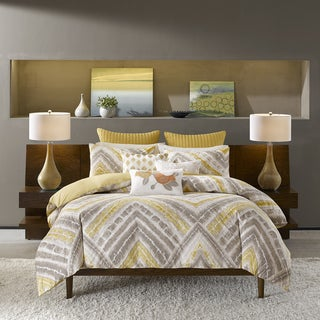 INK+IVY Cornwall Yellow and Grey Comforter 3 Piece Set