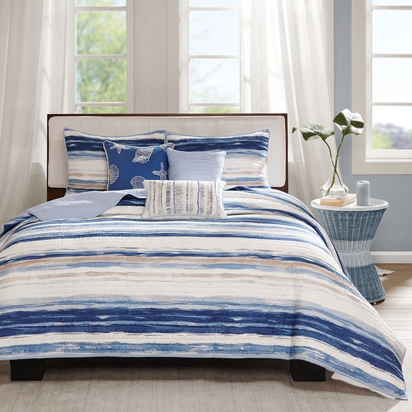 Madison Park Anchorage Nautical Blue Coverlet Set. Opens flyout.