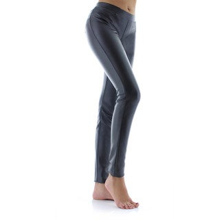 Memoi Women's Classic Pleather Leggings