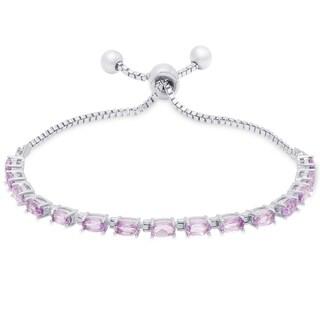 Dolce Giavonna Gold Over Sterling Silver Gemstone Tennis Style Adjustable Slider Bracelet
