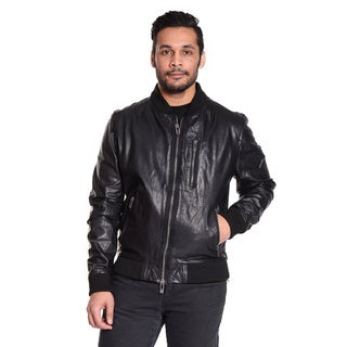 Excelled Men's 100-percent Leather Classic Baseball Jacket