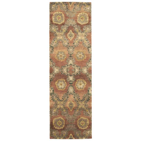 "Grand Bazaar Hand-knotted 100-percent Wool Pile Amzad Rug in Rust - 2'6"" x 8'"
