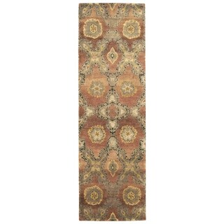 Grand Bazaar Hand-knotted 100-percent Wool Pile Amzad Rug in Rust (2'6 x 8') - 2'6 x 8'