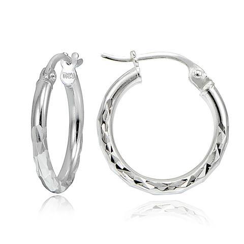 Mondevio Sterling Silver 15mm Round Hoop Earrings (3 Options or Set of 3)