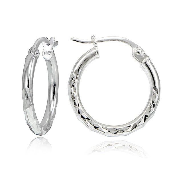 Mondevio Sterling Silver 15mm Round Hoop Earrings 3 Options Or Set Of