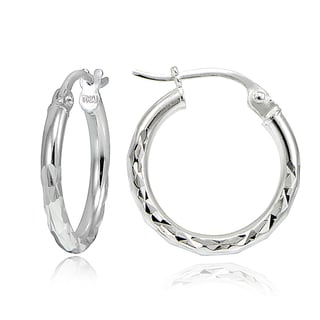 Mondevio Sterling Silver 15mm Round Hoop Earrings (3 Options or Set of 3)