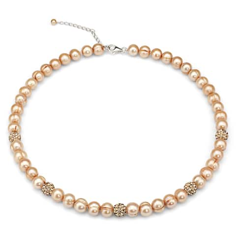 DaVonna Golden Freshwater Cultured Pearl and Cubic Zirconia Balls Strand Necklace - Gold