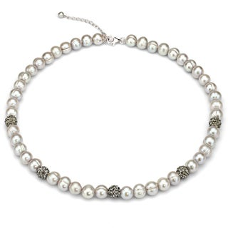 DaVonna Dyed Grey Freshwater Pearl and Cubic Zirconia Balls Strand Necklace (8-9 mm)
