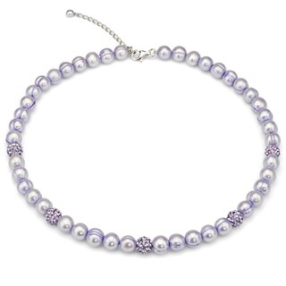 DaVonna Purple Freshwater Cultured Pearl and Cubic Zirconia Balls Strand Necklace (8-9 mm)