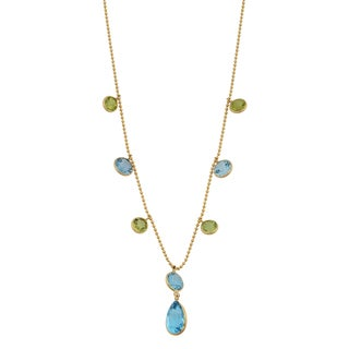 Fremada 14k Yellow Gold Blue Topaz and Peridot Lariat Necklace (17 inches)