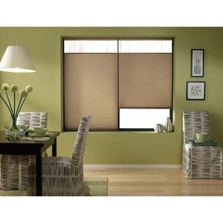 First Rate Blinds Cordless Top Down Bottom Up Cellular Shades in Antique Linen 26 to 26 1/2 Inches Wide