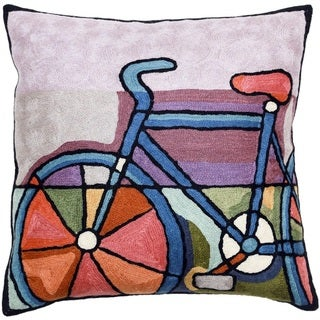 Bicycle Hand-embroidered Chain-stitch Throw Pillow (India)