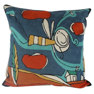 Bee Handmade Chain-stitch Throw Pillow (India)