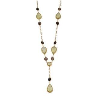 Fremada 14k Yellow Gold Pear-shaped Lemon Quartz and Round Smoky Quartz Necklace (16 inches)
