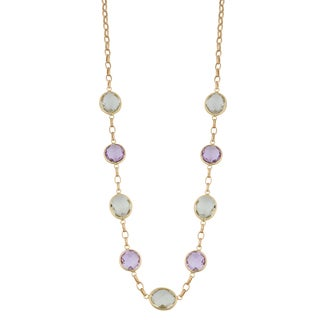 Fremada 14k Yellow Gold Round and Oval Amethyst Station Necklace (18 inches)