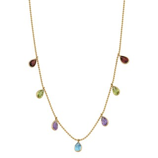 Fremada 14k Yellow Gold Multi Gemstones Cleopatra Necklace (16 inches)