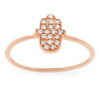 Sterling Silver Cubic Zirconia Micro Pave Hamsa Ring