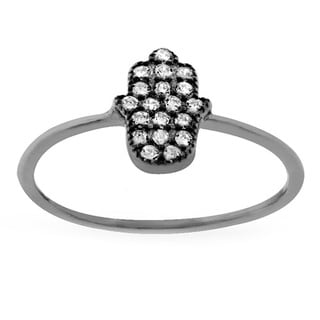 Sterling Silver Cubic Zirconia Pave Hamsa Ring