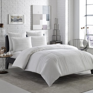 City Scene Variegated Pleats 3-piece Duvet Cover Set