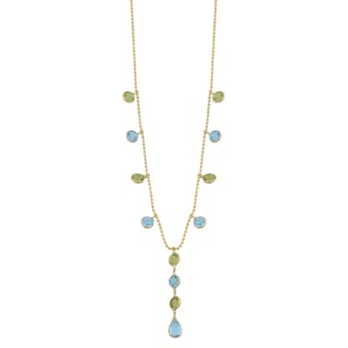 Fremada 14k Yellow Gold Peridot and Blue Topaz Drop Necklace (16 inches)