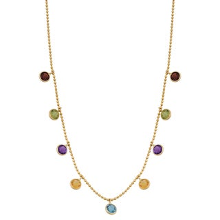 Fremada 14k Yellow Gold Stylish Multi Gemstones Cleopatra Necklace (16 inches)