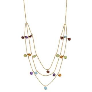 Fremada 14k Yellow Gold Three-row Multi Gemstones Cleopatra Necklace (16 inches)