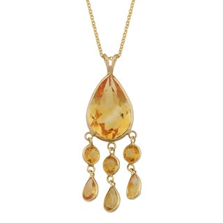 Fremada 14k Yellow Gold Citrine Drop Necklace (18 inches)