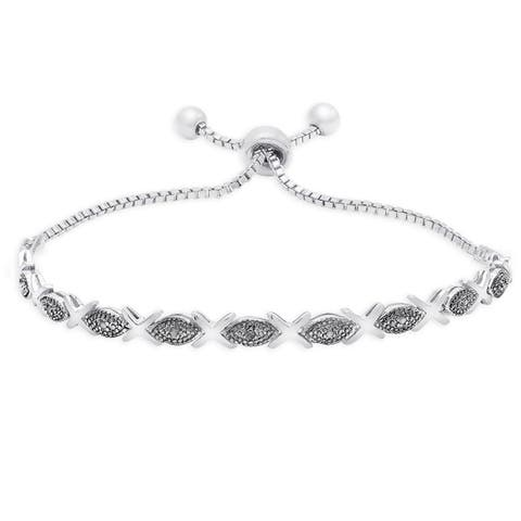 Finesque Gold Over Silver Or Sterling Silver Diamond Accent XO Adjustable Slider Bracelet