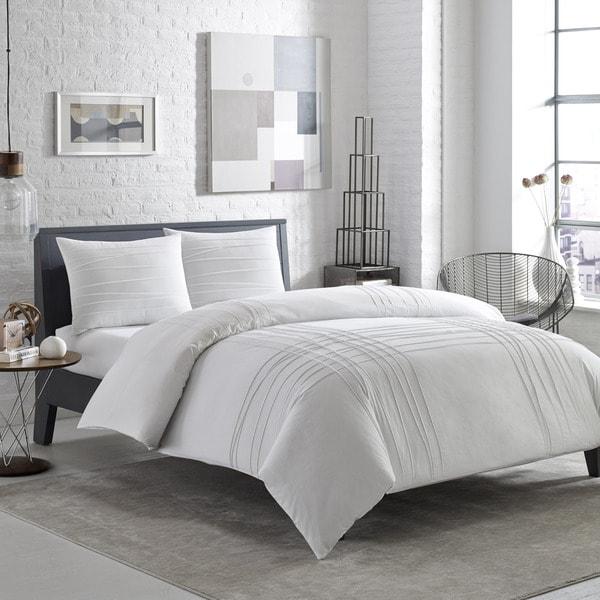 City Scene Variegated Pleats Cotton 3-piece Comforter Set