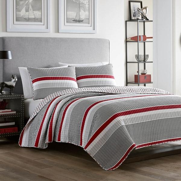 Poppy & Fritz Anchors Away Reversible Stripe Cotton 3-Piece Quilt Set