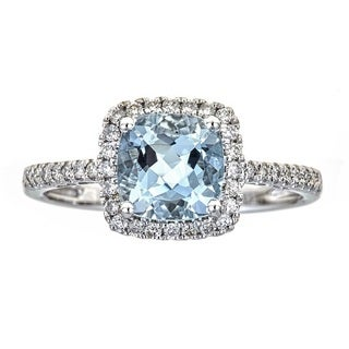 14k White Gold Brazilian Aquamarine and Diamond Bridal Ring by Anika and August