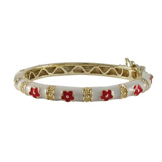 Gold Finish White and Red Enamel Flower Children's Bangle Bracelet