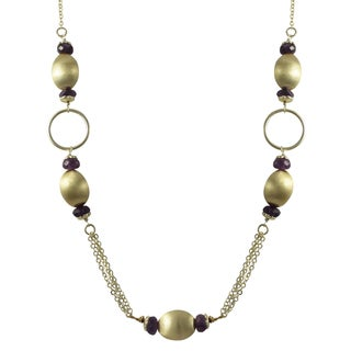 Luxiro Brushed Gold Finish Purple Amethyst Semi-precious Gemstone Necklace