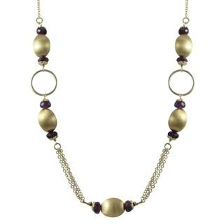 Luxiro Brushed Gold Finish Purple Amethyst Semi-precious Gemstone Necklace