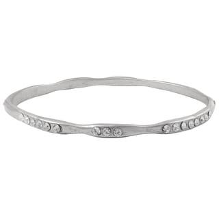 Luxiro Matte Gold Finish Pave Cubic Zirconia Bangle Bracelet