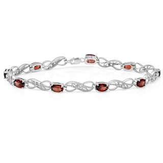 Elora Sterling Silver Garnet and White Diamond Accent Infinity Link Bracelet