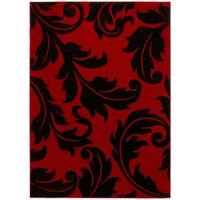 LYKE Home Contemporary Floral Red Area Rug - 8' x 11'
