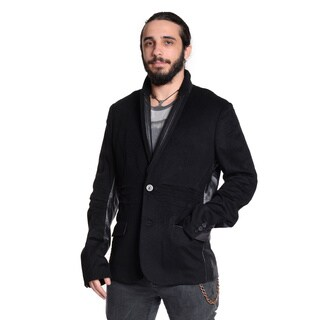 Excelled Men's Wool Leather Trim Two Button Blazer