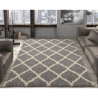 Ottomanson Soft Cozy Trellis Design Contemporary Soft Shag Area Rug - 6'7 x 9'3