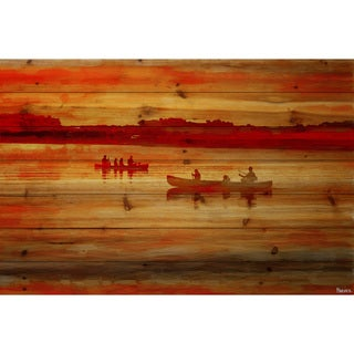 Parvez Taj - Sunset Paddle Painting Print on Natural Pine Wood