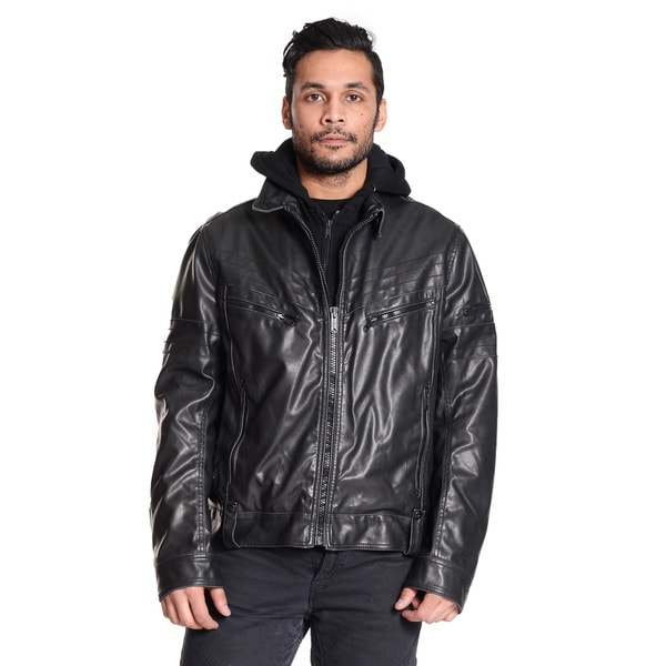 Excelled Men's Faux Leather Jacket with Hood