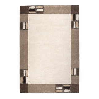 Somette Amery Collection Natural Border Area Rug (5.3' x 7.7')