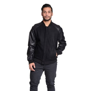 Excelled Men's Faux Leather and Wool Blend Varsity Jacket