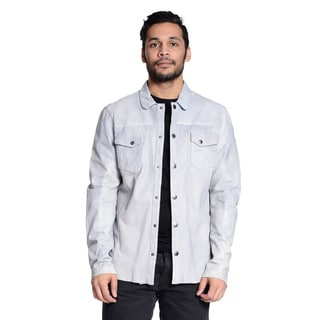 Excelled Men's Perforated 100-percent Leather Shirt Jacket