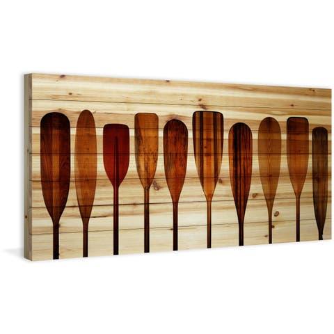 Parvez Taj - Canoe Paddles Painting Print on Natural Pine Wood
