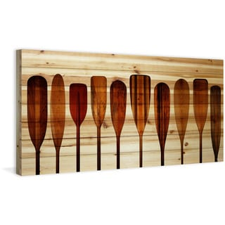 Parvez Taj - Canoe Paddles Painting Print on Natural Pine Wood