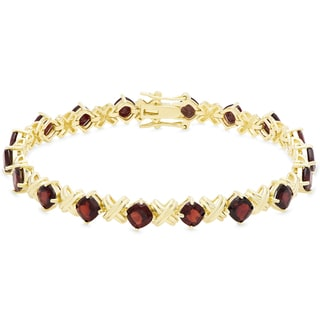 Dolce Giavonna Gold Over Sterling Silver Cushion Cut Gemstone XO Link Bracelet