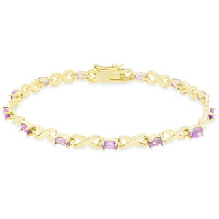 Dolce Giavonna Gold Over Sterling Silver Oval Cut Gemstone XO Link Bracelet